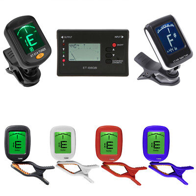 For Bass Ukelele Acoustic Guitar LCD Digital Electronic Clip on Tuner 36° PAN