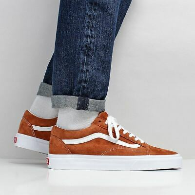 13b2e1748e VANS MEN S NEW Old Skool Pig Suede Shoes Leather Brown True White ...