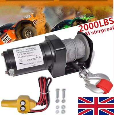Electric Winch 12V 2000 Lbs Recovery Synthetic Rope Wire Remote Steel Wire Truck