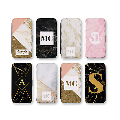 Personalised Marble Monogram 4- Faux Leather Flip Phone Case (C)- Glitter Effect