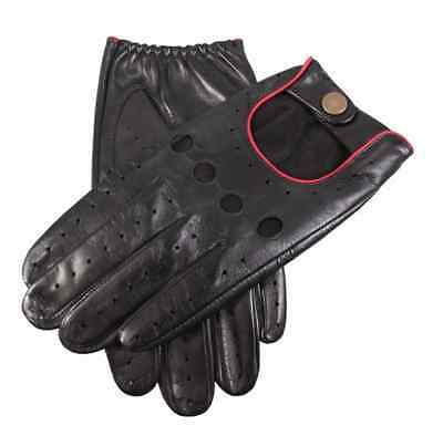 Mens Dents Classic Leather Unlined Driving Gloves Black Red English Tan 5-1011
