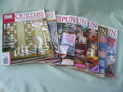 Bulk  Lot Of 7 Quilters Companion (2) & (5) Homespun Magazines C/w Pattern Sheet