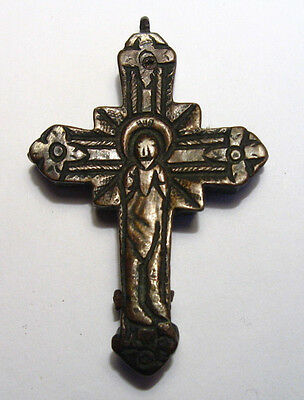 ANTIQUE LATE SILVER DOUBLE SIDED CROSS /kv