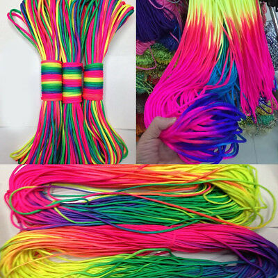 100/300FT Rainbow Color 550 Paracord Rope 7 strand Parachute Cord Camping Hiking