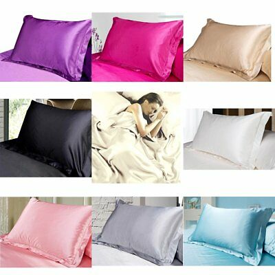 Silk Satin Pillow Cases Cover Solid Standard Bedding Soft Pure color Pillowcase