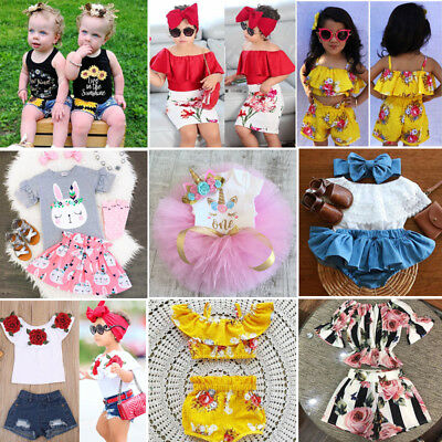 US Stock Toddler Kids Baby Girls Flower Off Shoulder Tops Pants Skirts Outfits