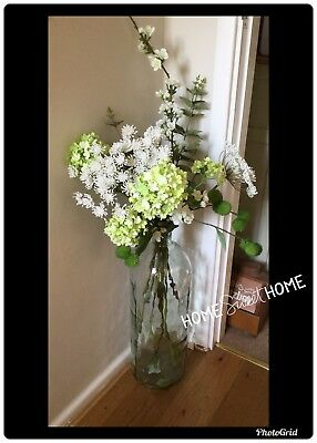 Large Glass Vase 100% Recycled Glass With Mixture Of Wild Artifical Flowers...