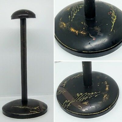 1920s black Wooden antique Japanese hat or wigstand, black lacquer, oriental