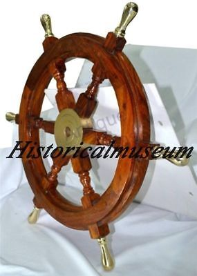 """24"""" Ship Wheel Solid Cherry Wood Brass HM419 Nautical Wall Decor Boat antique"""