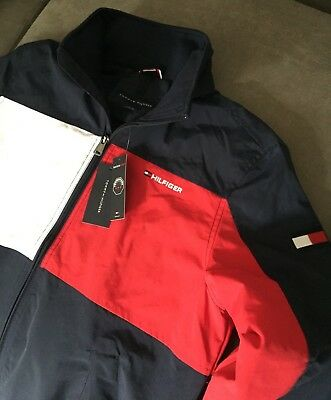 fa090b9743b353 TOMMY HILFIGER MENS Yacht Jacket Navy White and Red Size S BNWT ...