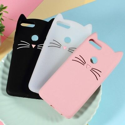 3D Mustache Cat Silicone Case for Huawei P Smart / Enjoy 7S