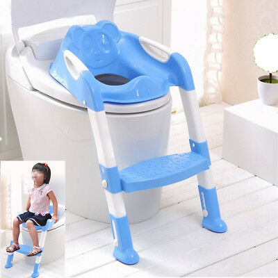 New Adjust PP Toddler Baby Fun Potty Training Toilet Step Ladder&Seat Safety Loo