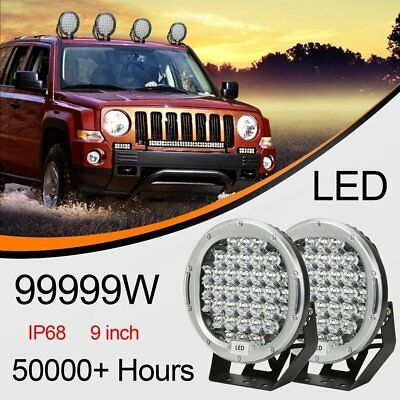 """9""""99999W Silvery ROUND LED Lights Work Driving Spot lights HID Offroad 4x4 SUV"""