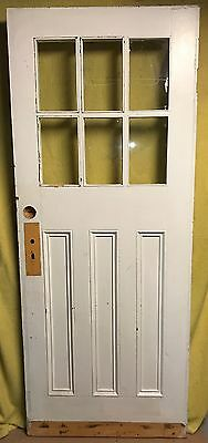 Antique Craftsman 6 Pane 3 Panel Wood Exterior Entry Door Architectural Salvage