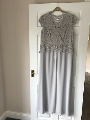 Jaques Vert Pale Grey Occasion Wear Maxi Dress - Size 18 - BNWT!