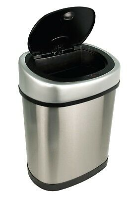 Trash Can Touchless Motion Sensor Automatic Oval Touch Free Stainless Steel NEW
