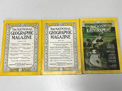3 Vintage Copies Of NATIONAL GEOGRAPHIC Magazine Job Lot  1950's - 1970's