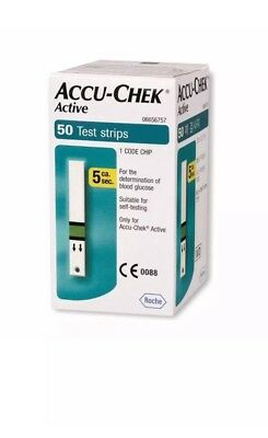 50 Test Strips for Glucometer Blood Glucose Accu Chek Active - EXPIRY SEPT 2019