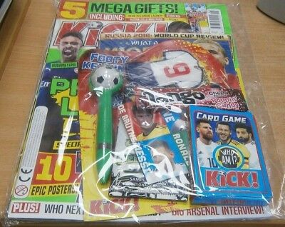Kick! Football magazine #158 2018 + Who am I? card game, Pokemon cards Pen &more
