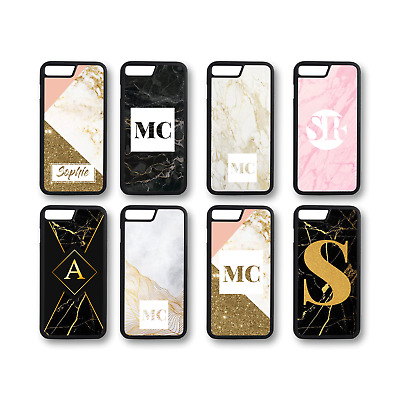 Personalised Marble Monogram 4-Rubber or Plastic Phone Case (C) - Glitter Effect