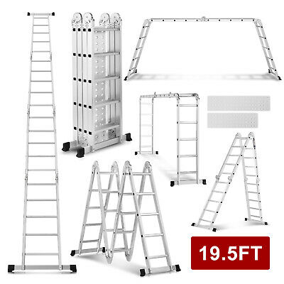 New 19.5FT 4X5 Multi Purpose Folding Aluminum Ladder Multi Function Ladder Tool