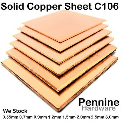 Solid Genuine COPPER Sheet Metal Plate 0.7 0.9 1.2 1.5 2.0 2.5 3.0 mm 16 Sizes
