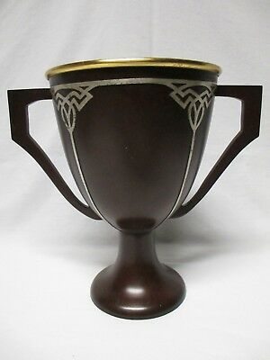 Heintz Arts & Crafts Sterling On Bronze Trophy Vase Loving Cup With Engraving
