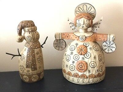 DEMDACO SNOWMAN & ANGEL by Caribou Canyon 2006- CHARMING DECORATIONS!