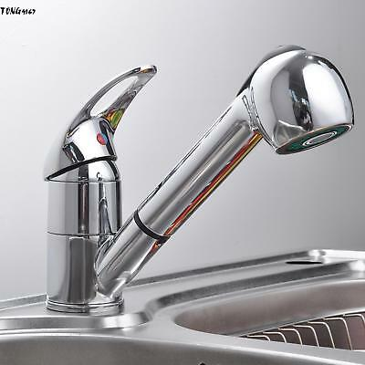 Brushed Chrome Kitchen Faucet Pull Out Sprayer Single Hole Swivel Sink Mixer Tap