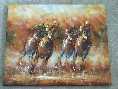 Hand Painted Horse Racing Oil Painting On Canvas 500mm by 400mm signed