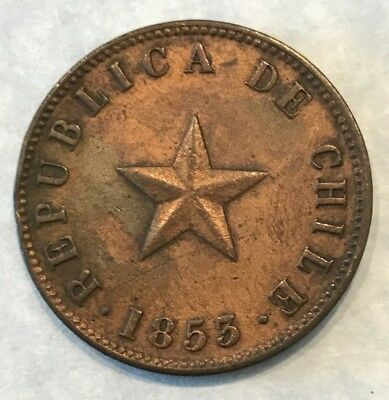 Chile 1853 Copper Large 1 Centavo Km-127 Red Luster Au Rare Grade