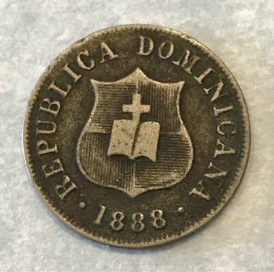 Dominican Republic 1888-A Nickel 2 1/2 Centavos Large A Type Great Shape