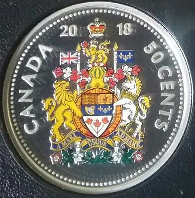 2018 Half Dollar Proof Pure Silver Colour 50-Cent Coin Canada Coat Arms Classic