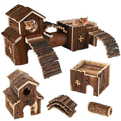 Natural Wood Hamster Mouse House Villa Tunnel Cage Rats Pets Exercise Toys Home
