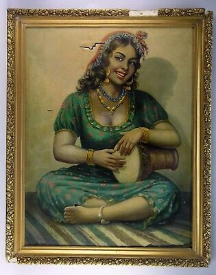Large Antique 1920's Oil on Canvas PAINTING SPANISH Gypsy Drummer NEEDS RESTORTN