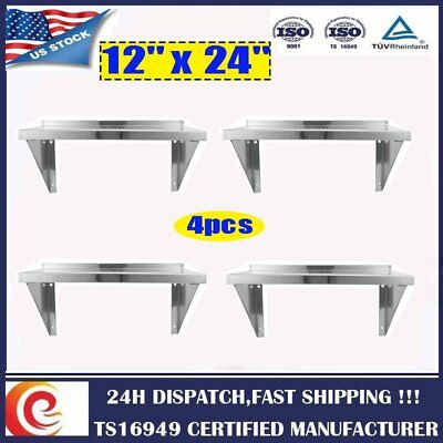 """4X 12"""" x 24""""  Commercial Stainless Steel Duty Kitchen Shelving Wall Shelfs US GC"""