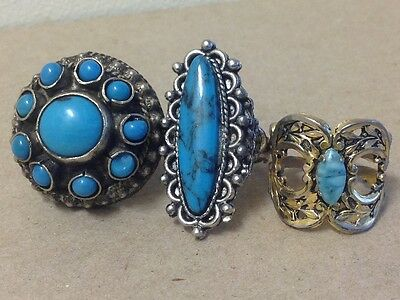 1980's Turquoise adjustable rings silver tone South West style costume jewelry