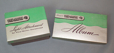 VINTAGE VIEW MASTER STORAGE ALBUM and light-attatchment, Both Mint in Box
