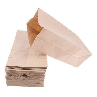 100 Pcs Kraft Paper Food Packing Bag Grease Resistant Takeout 13x8x24cm