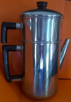 Maid Of Honor Coffee Pot Stainless Steel Copper Bottom Sears Robuck & Co Vintage