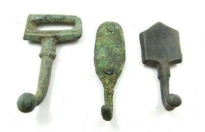 Authentic Lot Of 3 Medieval Bronze Belt Fittings  - E954