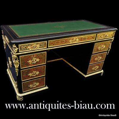 Antiques French Desk Boulle marquetry 19Th Century Napoléon III period - perfect