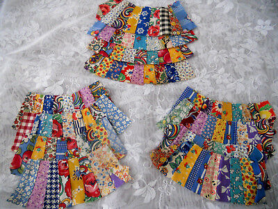 LOT 12 small VINTAGE PIECED FABRIC PIECES for Quilting doll clothes crafts or ??