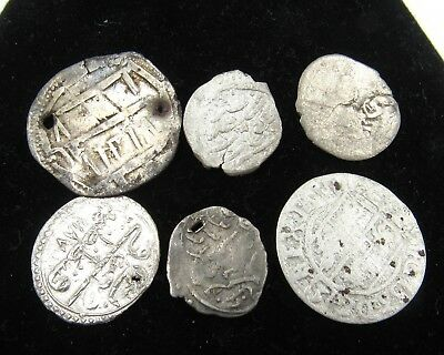 Authentic Lot Of 6 Medieval Silver Hammered Coins - E961