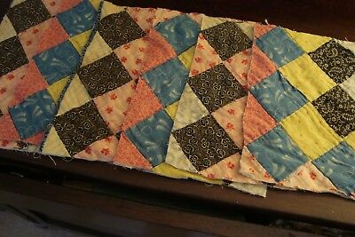 LOT OF 6~ ANTIQUE 1930s PATCH QUILT PIECES ~ GREAT FOR PRIM CRAFTS