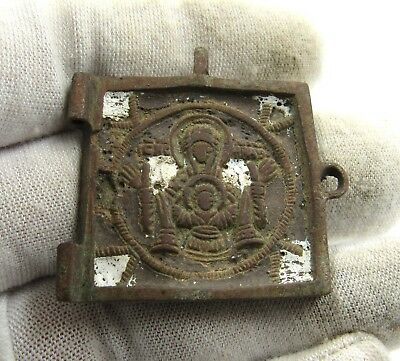 Authentic Medieval Bronze Icon W/ Jesus Christ & Mother Mary - E971