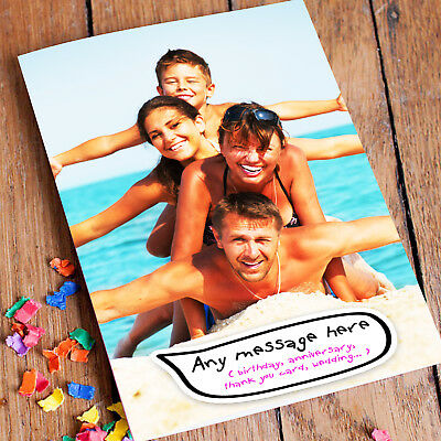 Own Photo Personalised Greeting Card Birthday Anniversary Christmas All Occasion