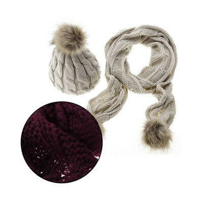 Knitted Scarf and Hat Set Winter Warm Beanie Ski Hat Crochet Cap Women's Scarves