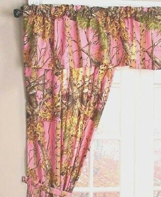 The Woods Pink Licensed Curtain Set 5 Piece Camo Curtains Valance Tie