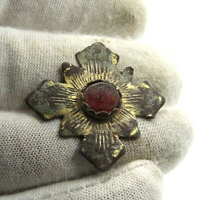 Authentic Medieval Crusaders Era Gold-Gilded Bronze Maltese Cross - E980